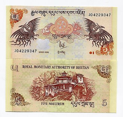 Bhutan 5 Ngultrum 2006 P28 UNC Banknote Paper Money