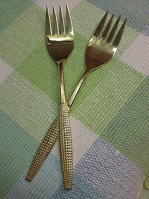 Pair of 2 VTG Mid-Century Stanley Roberts Japan Gold Montico Serving /Meat Forks