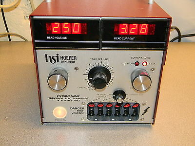 Hoefer PS250 Power Supply, 0 - 250 VDC, 0 - 2.5 A, 115 VAC 60 HZ Input