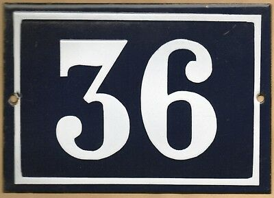 Large old blue French house number 36 door gate plate plaque enamel steel sign