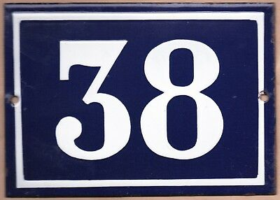 Large old blue French house number 38 door gate plate plaque enamel steel sign