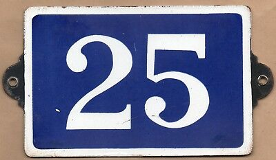 Old blue French house number 25 door gate plate plaque enamel steel metal sign