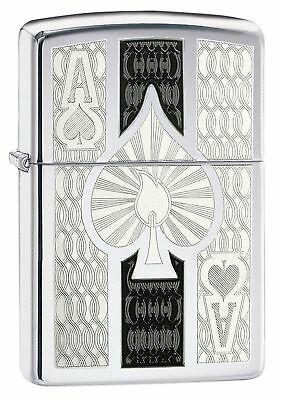 Zippo Ace Windproof Lighter Filigree Spade High Polished Chrome Ace