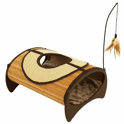 Rosewood Jolly Moggy Natural Bamboo Cat Pod Brown One size