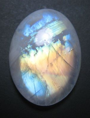 LARGE 18x13mm OVAL CABOCHON-CUT NATURAL INDIAN RAINBOW MOONSTONE GEM