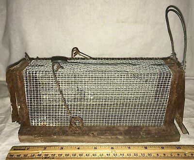Antique Unmarked Wire Cage Mouse Rodent Trap Wood Base Unusual Spring Vintage