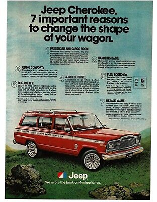 1980 Jeep CHEROKEE Red Station Wagon 4wd 4x4 VTG PRINT AD
