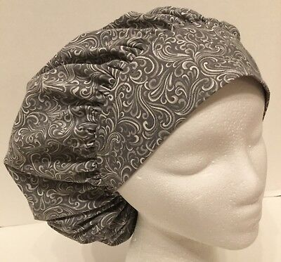 Gray Swirl Print Large Medical Bouffant Surgical OR Scrub Cap Surgery Hat