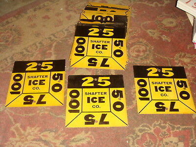 Vintage ICE Delivery Cardboard Sign - Shafter ICE Co., California - VERY COOL