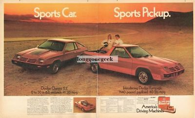 1982 Dodge Red CHARGER 2.2 & RAMPAGE Pickup Truck Centerfold Vtg Print Ad