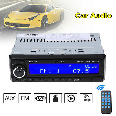 1DIN Car Stereo 12V FM Radio Audio USB/AUX Bluetooth Remote Head Unit MP3 Player