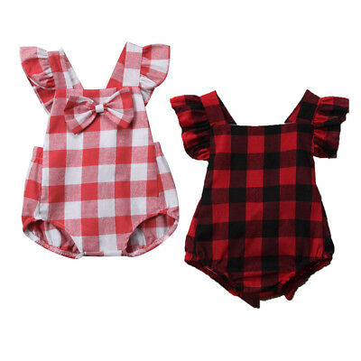 Buffalo Plaid Romper Newborn Baby Girls Boho Bodysuit Summer Clothes Outfits