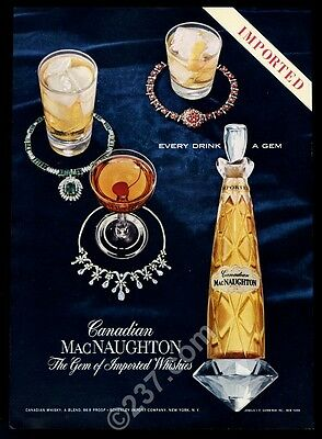 1957 Canadian MacNaughton whisky bottle and drinks photo vintage print ad