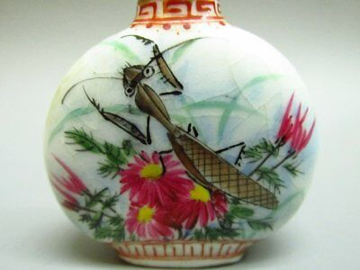 Chinese Katydid Flower Pattern Hand Painted Porcelain Snuff Bottle