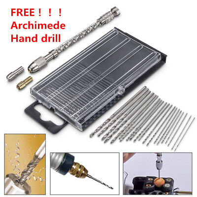 20Pcs Micro HSS Titanium Twist Drill Bit Set Rotary Tools Keyless Chuck