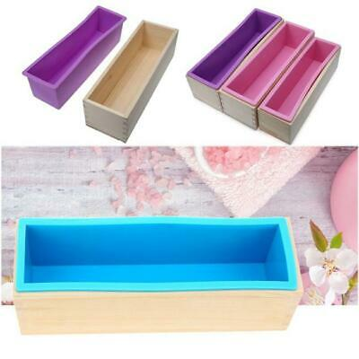 Silicone Rectangle Soap Mold & Wooden Box DIY Toast Loaf Cake Mould New C
