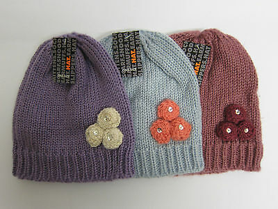 GL096- Girls RJM Knitted Beanie Hat 3 Colours- One Size - Great Price