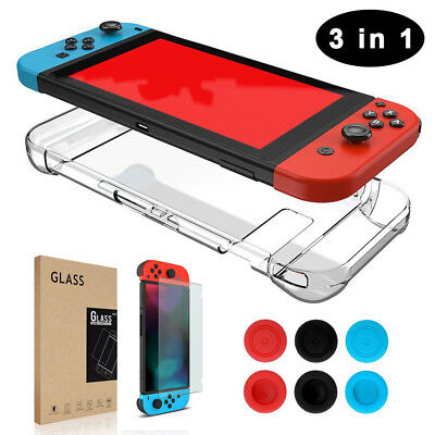 For Nintendo Switch Case+Tempered Glass Screen Protector+Thumb Grips Cap  3IN1 v