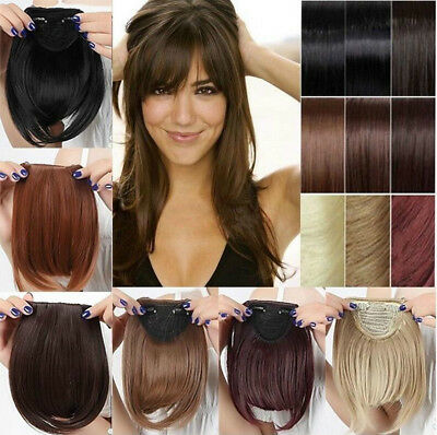 Natural Thick Straight Bang Clip in on Fringe Hair Extension Synthetic Hairpiece