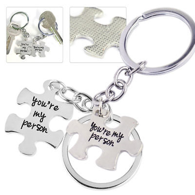 2pcs Puzzle You're My Person Silver Key Ring Chain Keychain Lover Couples Gifts