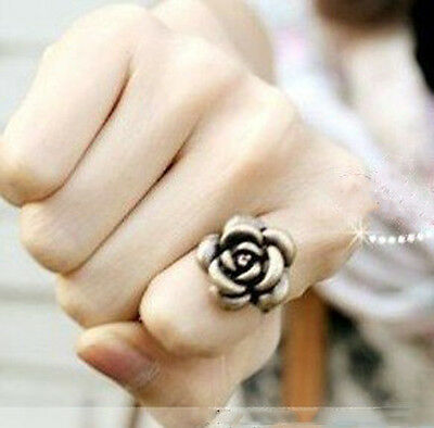 Retro Rose Flower Ring Classical Smooth Women Elegant Bronze Jewelry For Lady