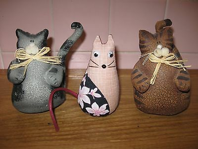 3 Cat Figures : 2 Painted Canvas Figurines, 1 Cloth
