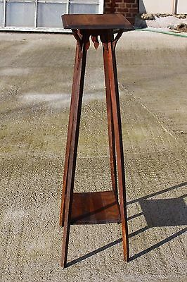 Extra Large Wooden Antique Oak Pedestal Display Table Plant Church Stand
