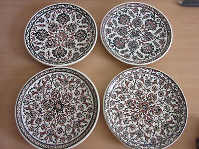 4 Vintage/Antique Azim Kutahya Turkish Ottoman empire hand painted wall plate 10