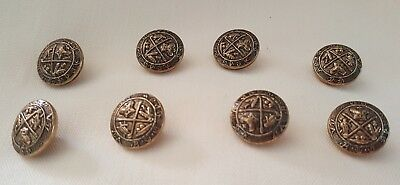 8 Pc Lot of Vintage Crown Thistle Shield Brass Blazer Cuff Buttons Metal 1/2""