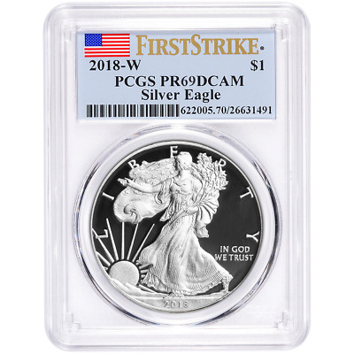 2018-W Proof $1 American Silver Eagle PCGS PR69DCAM First Strike Label