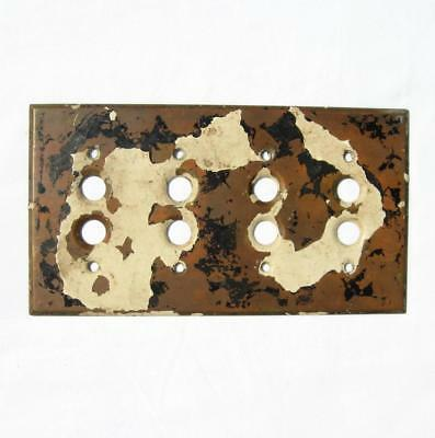 Antique Solid Brass 4 Gang Push Button Light Switch Cover Plate 1903 Perkins VTG