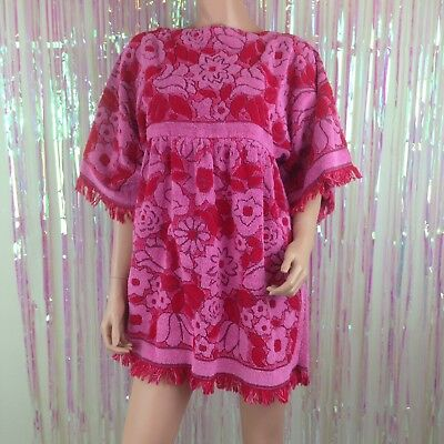 Vtg 60s 70s floral towel robe beach swim suit cover up terry cloth red pink