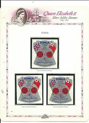 Tonga 1977 on White Ace Pages, Queen Elizabeth, 392-6, C209-13, C117-9 Mint NH