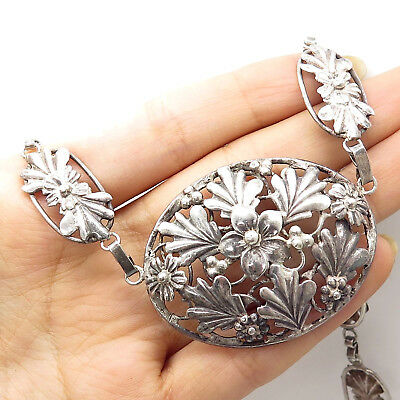 """Antique Victorian Signed 925 Sterling Silver Wide Floral Chain Necklace 17"""""""