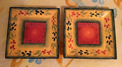 2 Hand Painted Crafted Corsica Home La Province Tuscan Fiesta Square Plates 10""