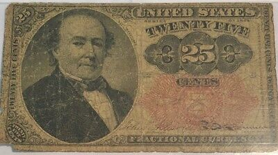 1874 25 CENT FRACTIONAL CURRENCY, 5TH ISSUE, FR-1308 in GOOD.