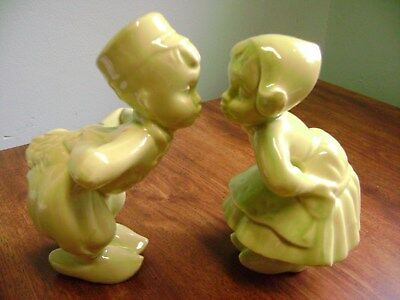 adorable vintage 1950'S CERAMIC DUTCH KISSING BOY AND GIRL FIGURINES!!!!