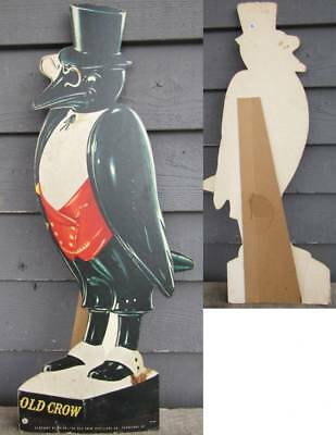 "Early 30"" Standup Cardboard Old Crow Whiskey Advertising Sign"