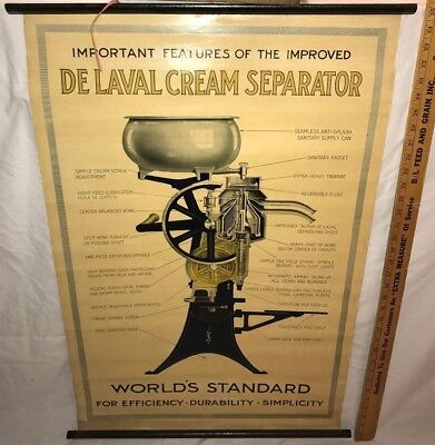 Antique Early Delaval Cream Separator Poster Sign Vintage Dairy Cow Farm Milk