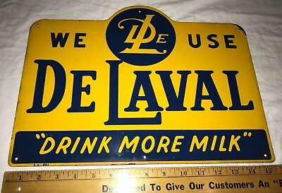 Antique Delaval Tin Litho Cream Separator Sign Vintage Dairy Cow Farm Milk Old