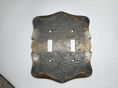 Vintage Amerock Brass Plug Light Switch Cover Carriage House 2 Gang Scrolled
