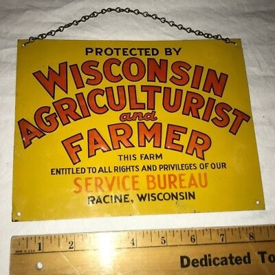 Antique Wisconsin Farmer Tin Litho Sign Racine Wi Vintage Old Farm Agriculture