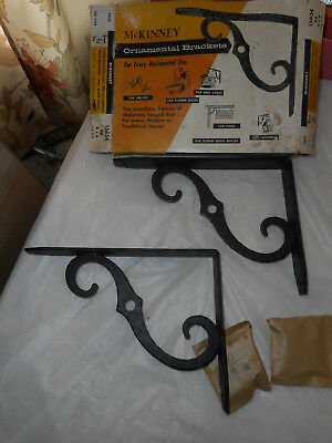 "Vintage McKinney Decorative Wall Brackets Forged Iron 8"" x 6"" One Pair Black"