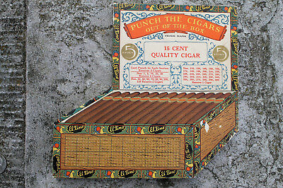 Vintage 1920 Cigar Box Shaped Punch Board Tavern Gambling El Fino Figural Sign