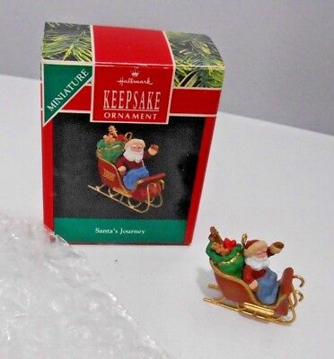 MINIATURE - Hallmark Keepsake Ornament - Santa's Journey - 1990 with Box