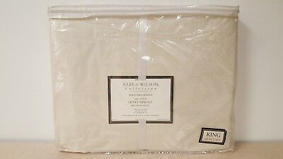 Earl & Wilson 100% Cotton King Size Duvet Cover & 2 King Shams Cream New