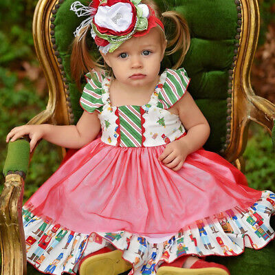 Cute Princess Baby Girls Bowknot Tulle Floral Dress Wedding Party Formal Dresses