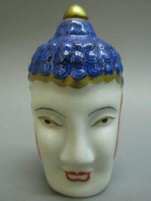 Chinese Buddha Head Shape Carved White Porcelain Snuff Bottle