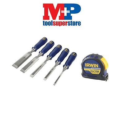 IRWIN Marples M444 Wood Chisel Set : 6, 10, 12, 18 & 25mm+ 3M Tape Measure