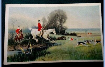 antique victorian TRADE CARD~HUNTING HORSE DOGS greenwald,allentown pa DAUBACH
